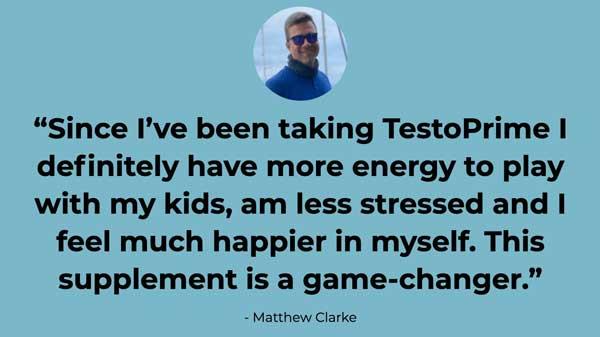 TestoPrime testimonial Matthew Clarke daily Mail UK newspaper